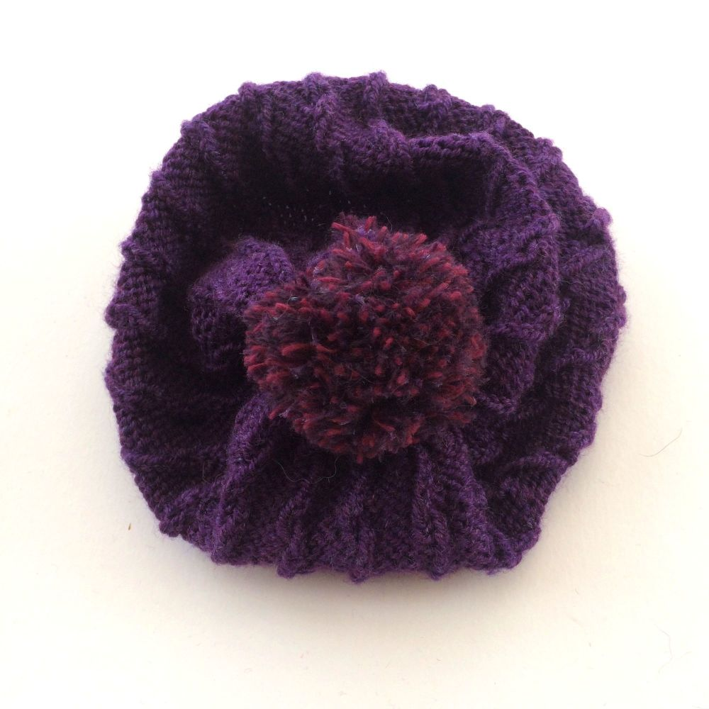 Purple knitted Beanie hat