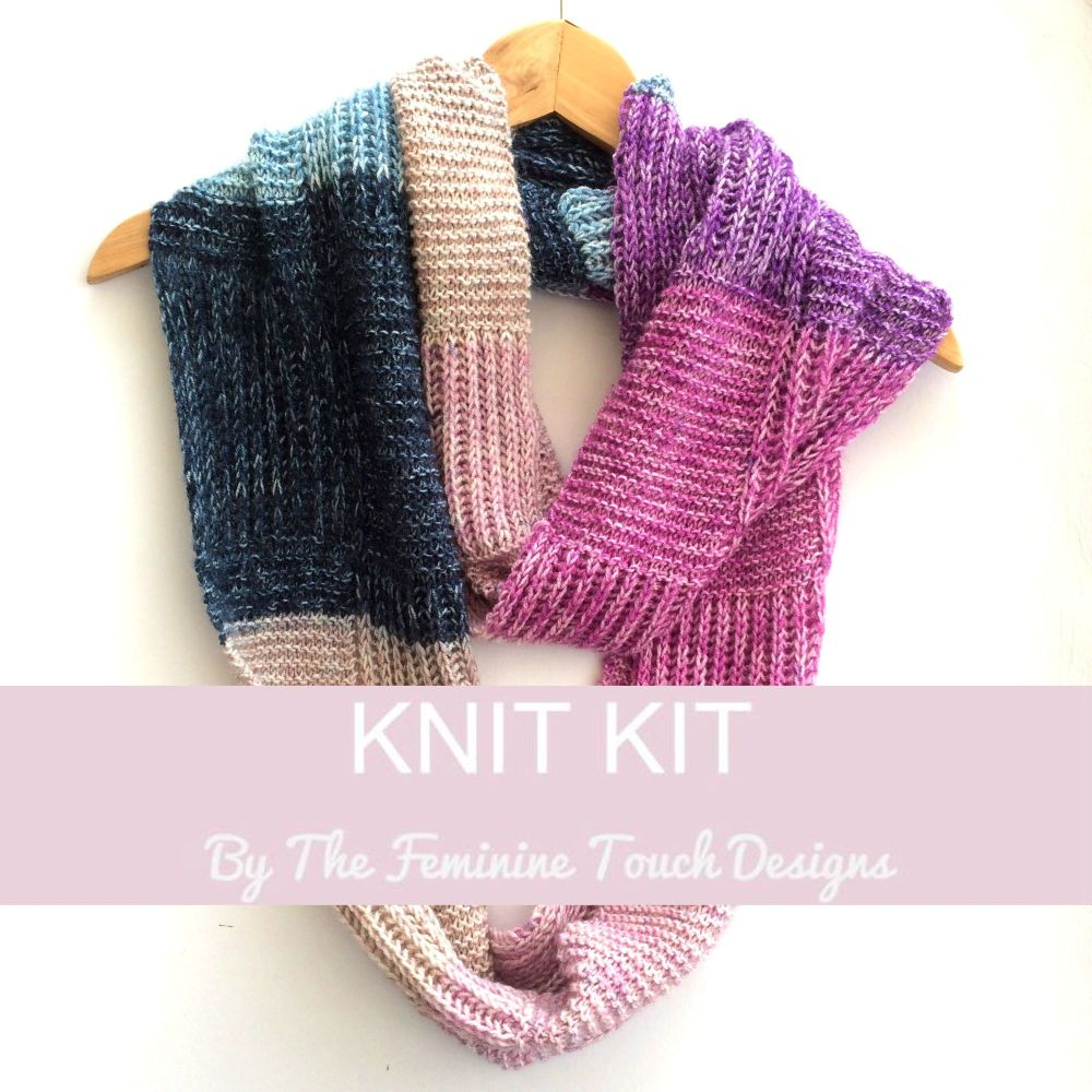 Knitting kit - checkerboard infinity scarf