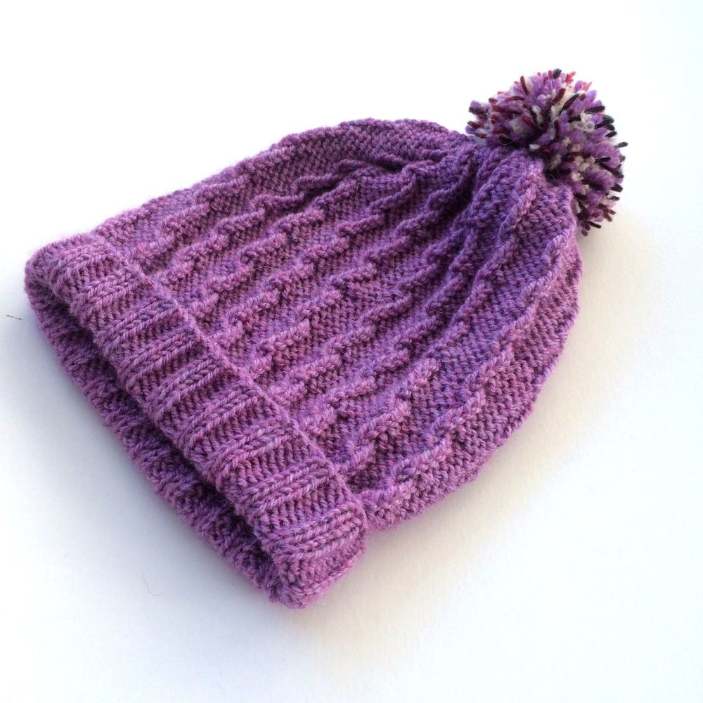 Lilac knitted Beanie hat