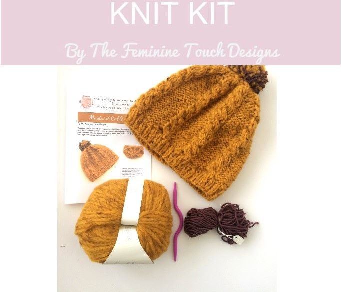 Mustard Wool Hat Knitting Kit