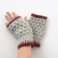 Light Grey / Red  fingerless gloves