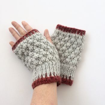 Light Grey / Red  fingerless gloves