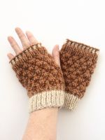 Copper / Cream  fingerless gloves