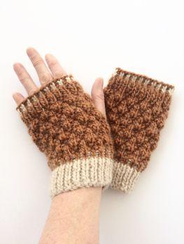 Copper / Cream  fingerless gloves