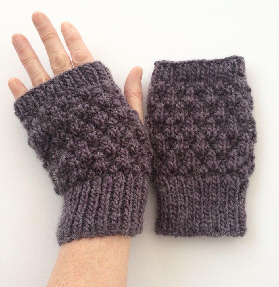Bilberry Bobbly fingerless gloves