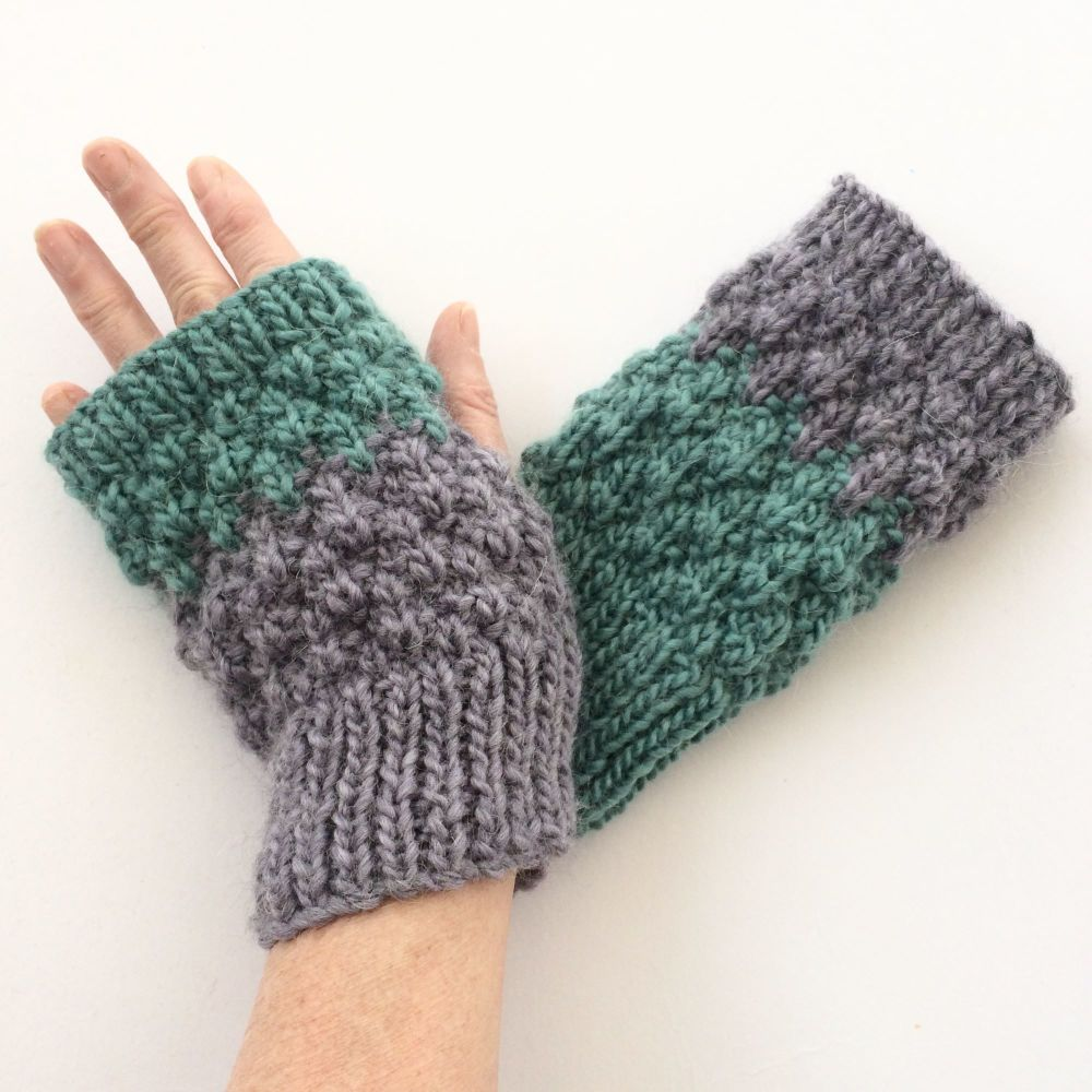 Purple / Turquoise  fingerless gloves