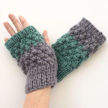 Purple / Turquoise  fingerless gloves