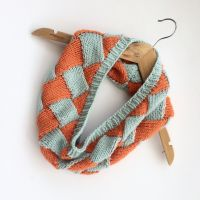 2 Coloured woven  knitted cowl