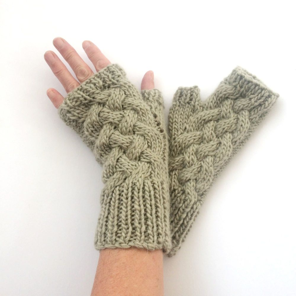 Light Green cable wool fingerless gloves