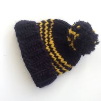 Navy Blue Striped Beanie Hat