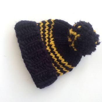 Navy Blue Striped Beanie Hat