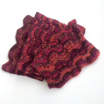Hand Dyed Pink / Red Lace scarf