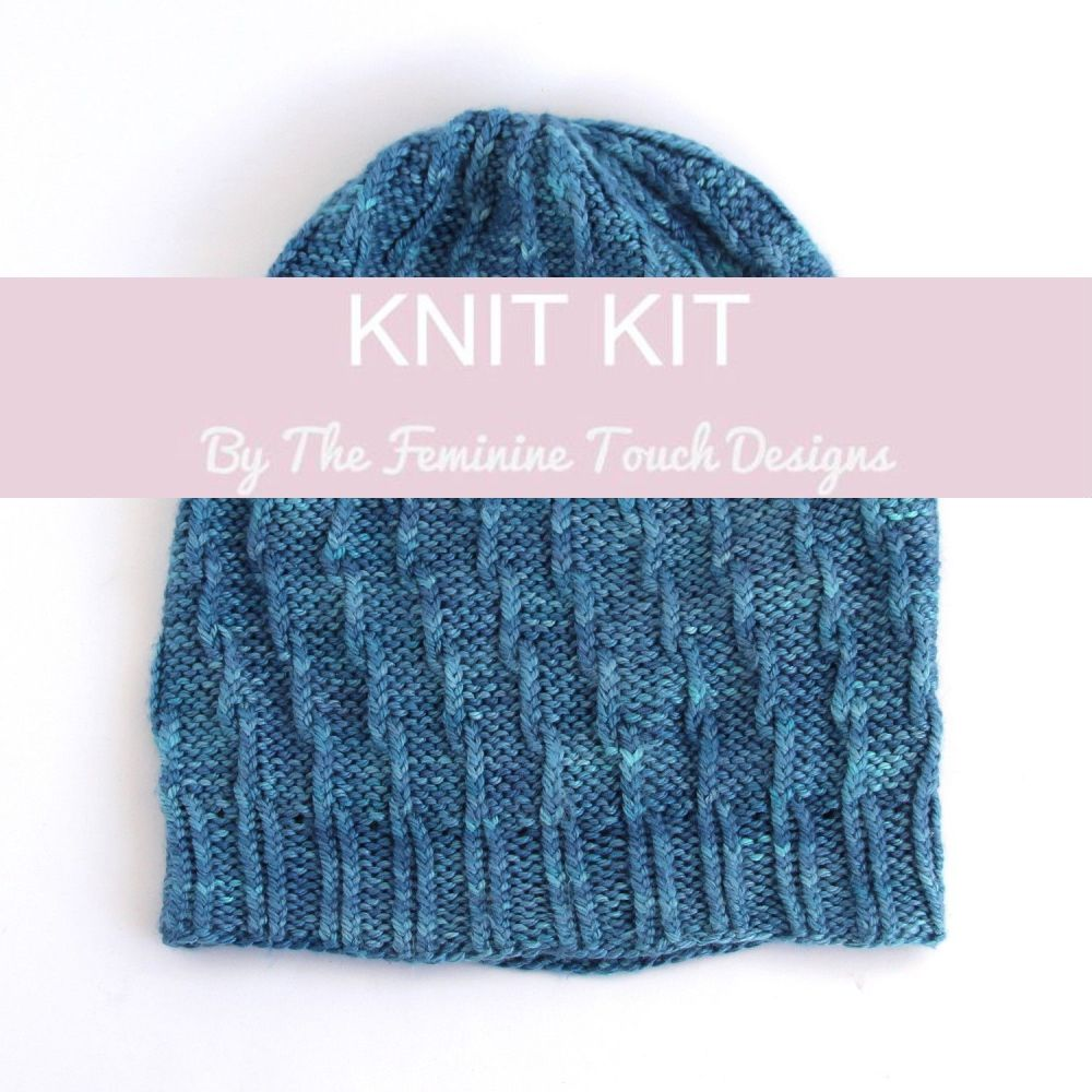 Slouchy Twist Beanie Hat Knitting Kit