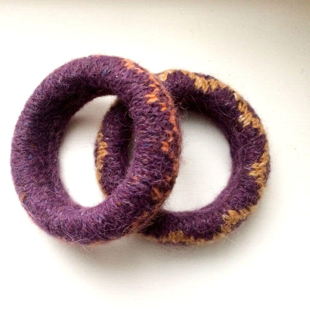 2 Purple Wool Patterned Bracelets   - SALE