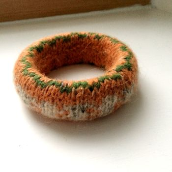 Orange Wool Bracelet