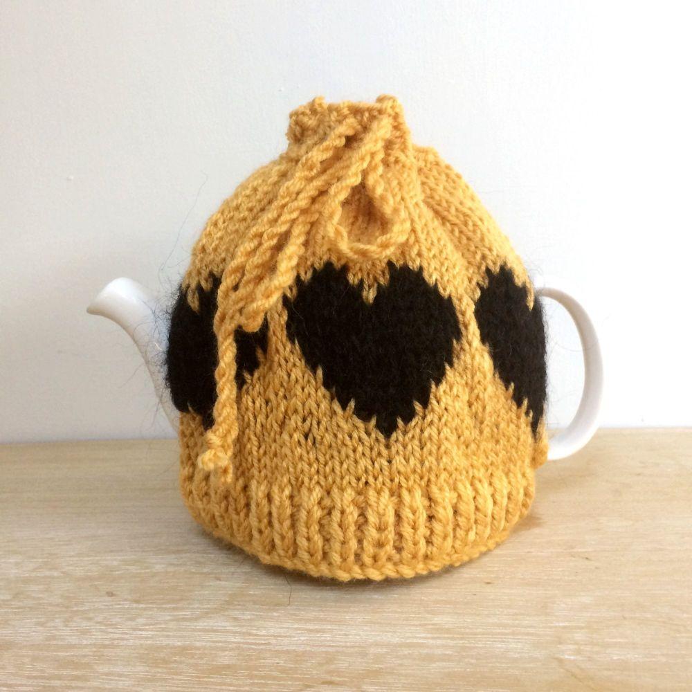 Mustard Yellow hearts Tea Pot cosy