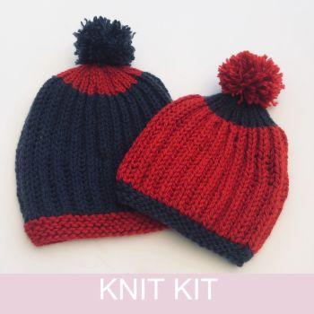 2 Brioche Hats knitting kit