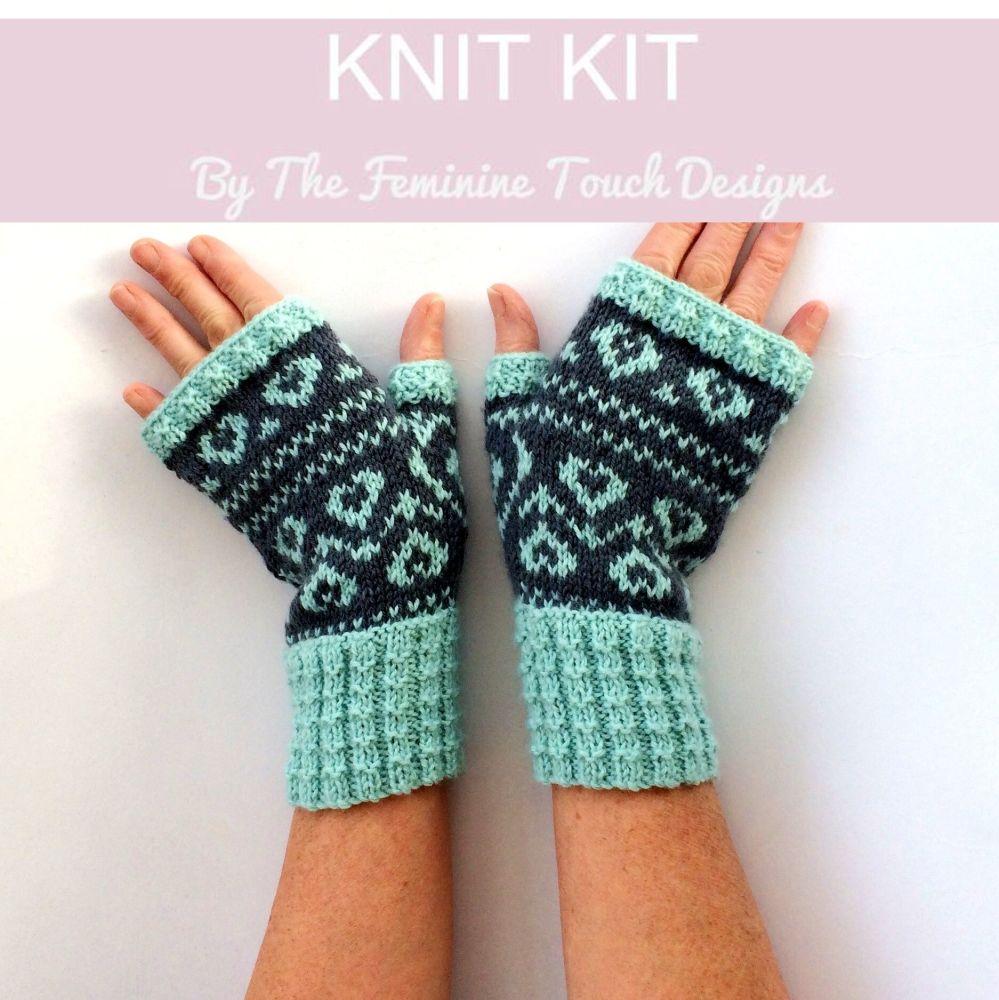 Sweet Heart Gloves knitting kit