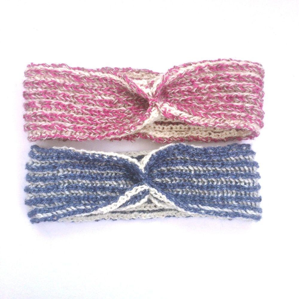 Brioche hand knit headband