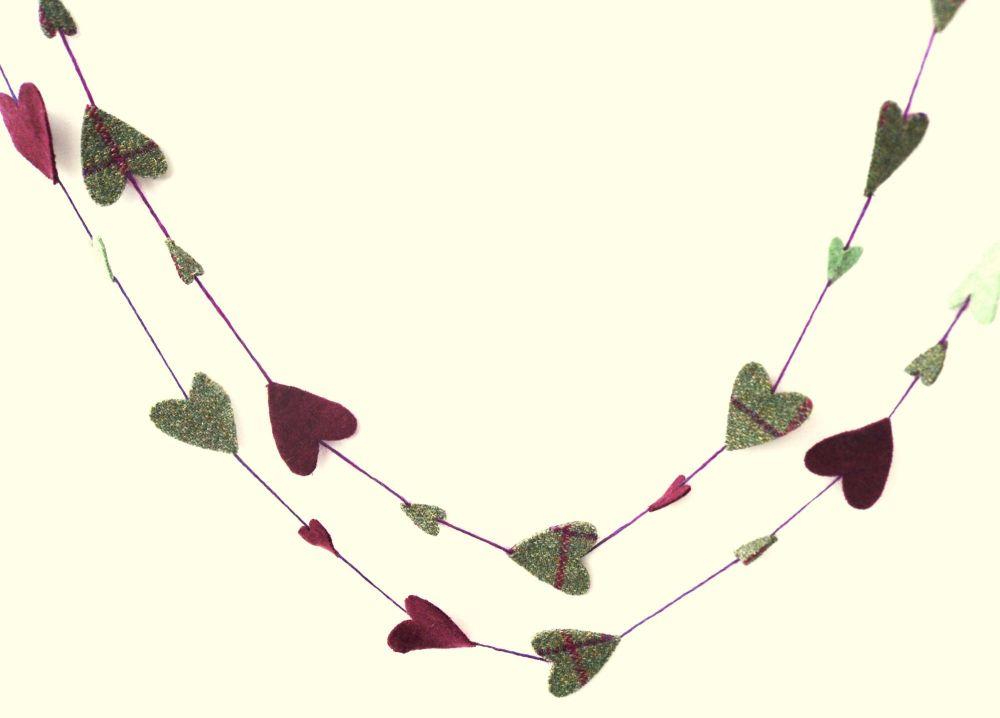 Recycled felt heart garland