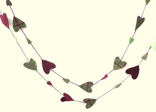 Recycled felt heart garland