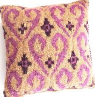 Small Fair Isle cushion - pink swirls (12