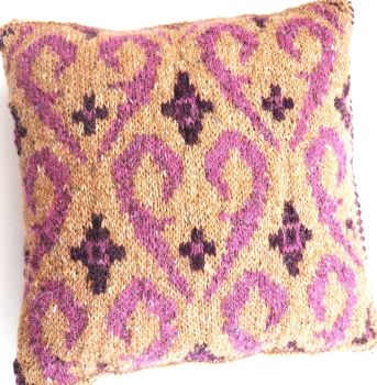 "Small Fair Isle cushion - pink swirls (12"" x 12"")"