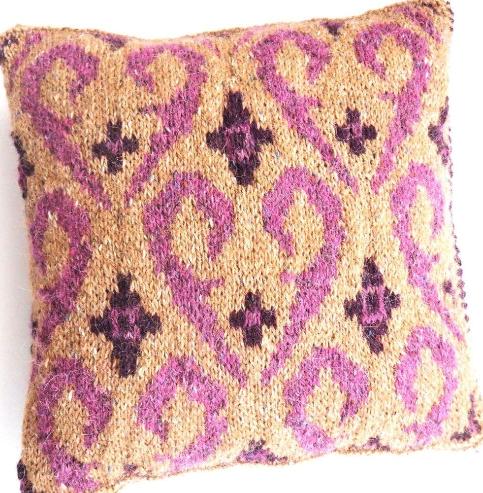 Small Fair Isle cushion - pink swirls. One off