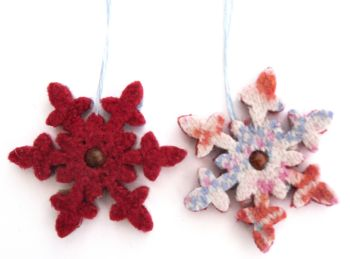 Red / Fairisle christmas snowflake ornaments