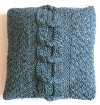 "Teal cable knit cushion cover  (15"" x 15"")"