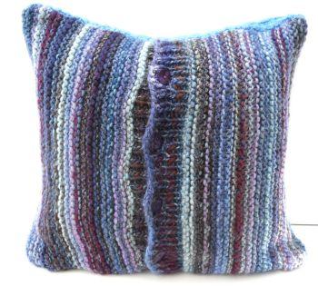 "Blue Striped chunky cushion cover (18"" x 18"")"