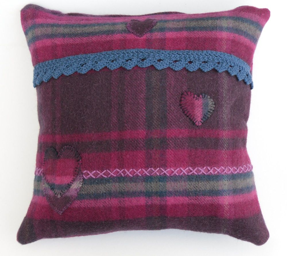 Pink tartan pillow with applique hearts (17