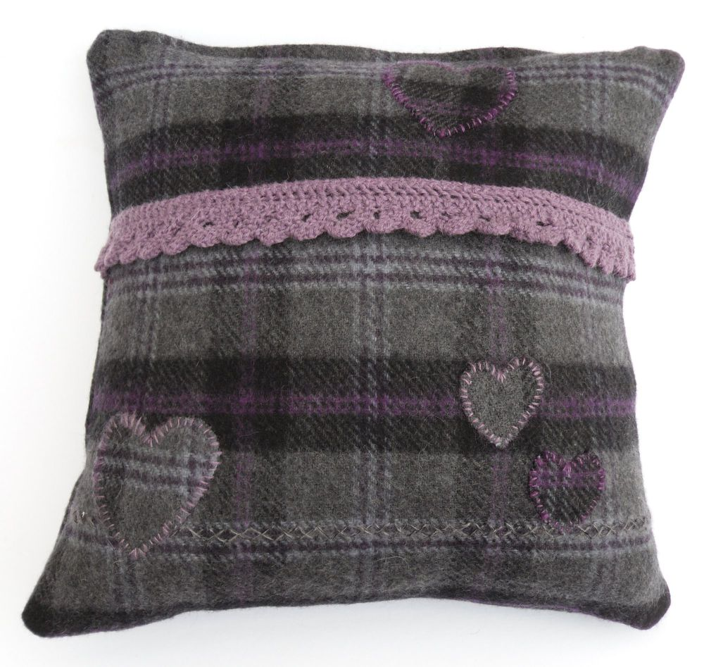 Grey tartan pillow with applique hearts (17