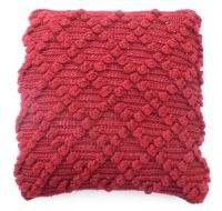 Red Bobbly Wool cushion cover (18