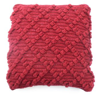 "Red Bobbly Wool cushion cover (18"" x18"")"