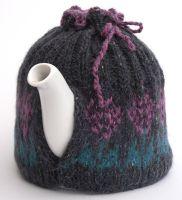 Purple flower Fair isle Tea Pot Cosy for medium size pot