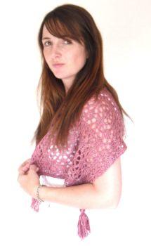 Pink feminine lace shawl