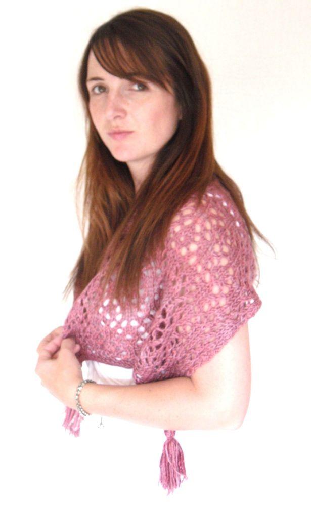 Pink feminine lace shaw