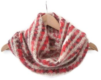 Red and Cream Diagonal Striped infinity scarf
