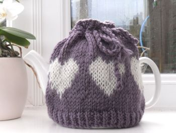 Lilac Hand knitted hearts Tea Pot cosy