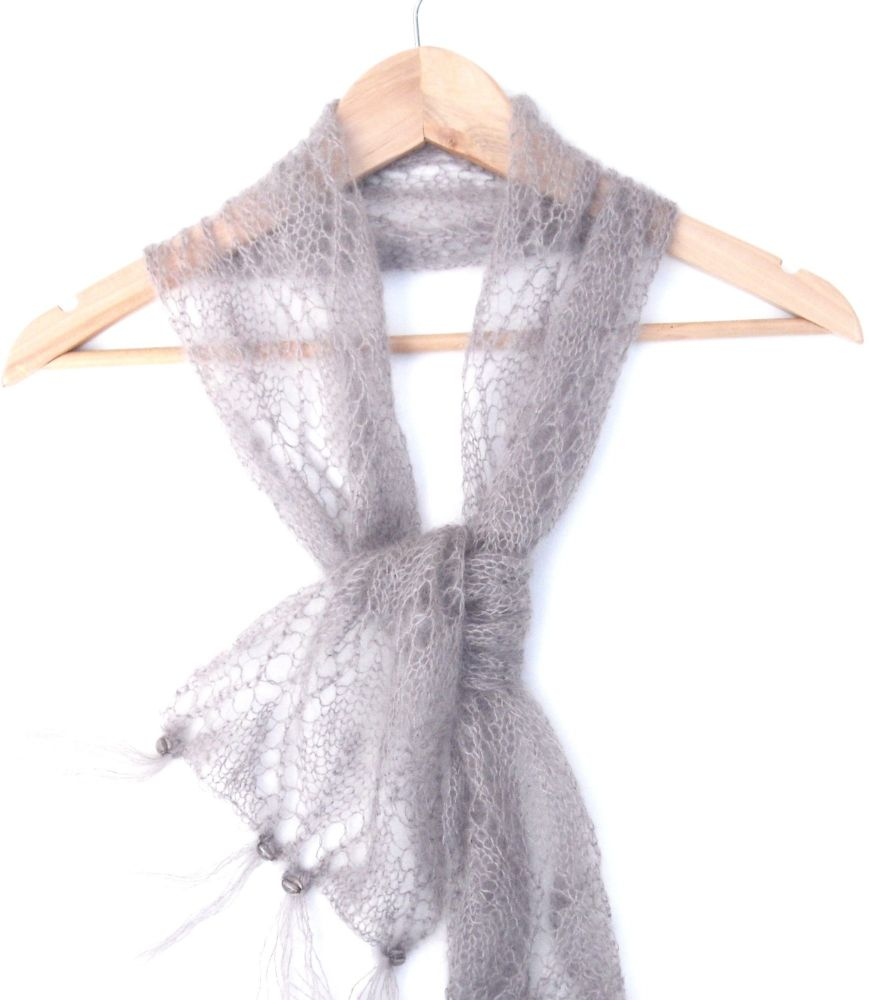 Taupe grey lace accent scarf