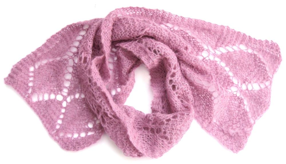 Pink lace mohair scarf
