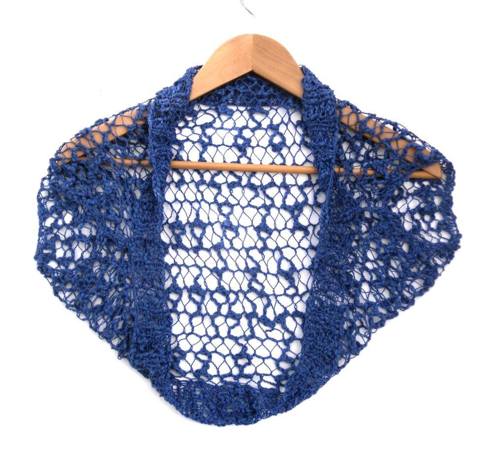 Blue cap sleeve lace bolero