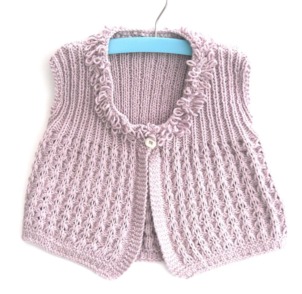 Girls pretty lilac cotton cardigan
