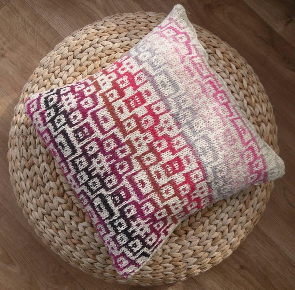 Colourful mosaic knitted cotton cushion (18