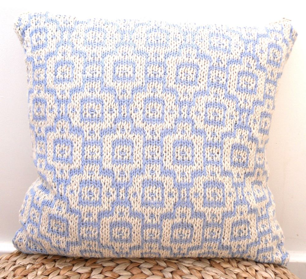 Cream & blue morrocan mosaic cotton cushion (18