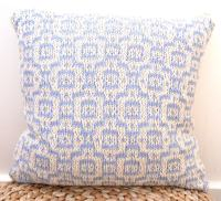 Cream & blue moroccan mosaic cotton cushion (18