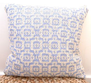 "Cream & blue moroccan mosaic cotton cushion (18"" x 18"")"