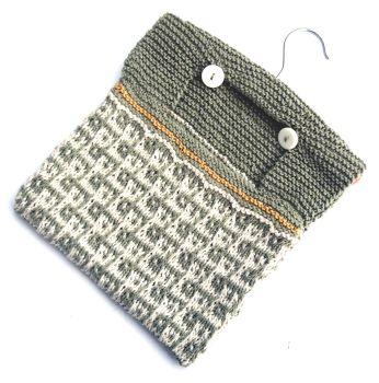 Green patterned cotton Peg Bag