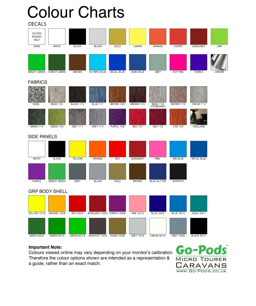 COLOUR CHART For Go-Pods 2018